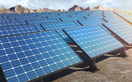 Solar panels station field background. 3d rendering