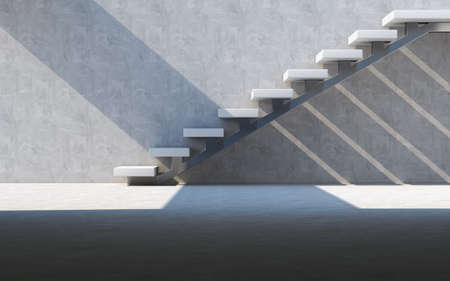 Abstract empty modern concrete room with  wall and stairs, industrial interior background template. 3d rendering