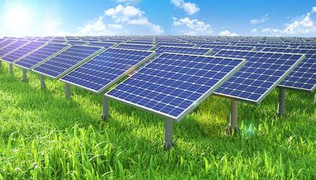Solar panels station field shiny grass valley background. 3d rendering Standard-Bild