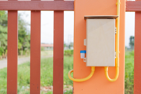 outdoor electricity: outdoor electricity control box Stock Photo