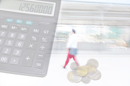finance background: motion blur red pant office man with finance background