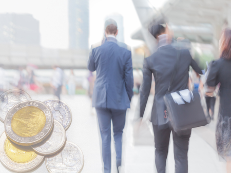 finance background: motion blur business people with finance background Stock Photo