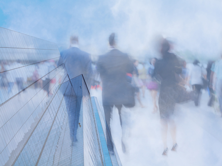 businesswoman suit: motion blur business people in business area Stock Photo