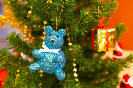 chirstmas: blue bear doll chirstmas decoration Stock Photo