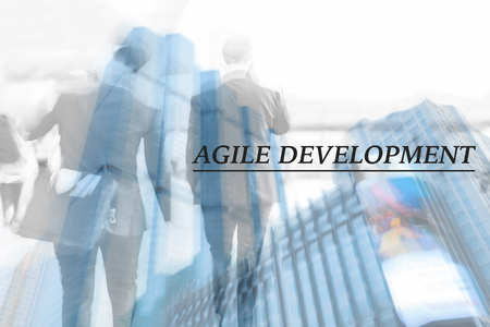 motion blur business skyscraper and business man. agile development, human resource concept Stock Photo