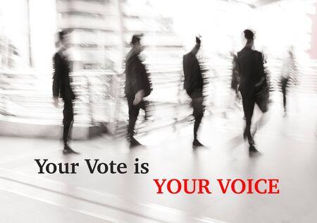 motion blur businessman walking, election concept