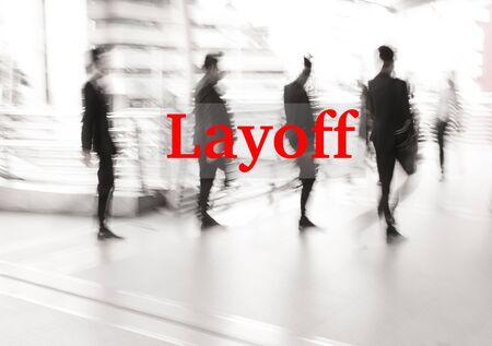terminate: motion blur businessman walking, lay off concept