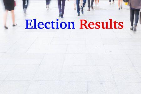 libertarian: motion blur crowd walking, election concept