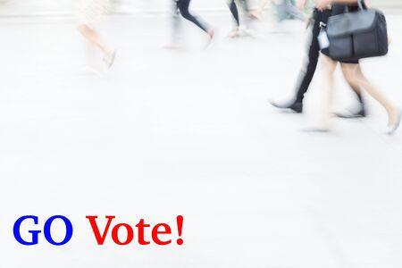 election debate: motion blur people walking, business management concept