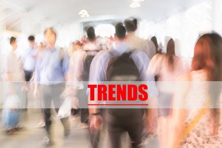 motion blur crowd walking to work background, business management concept