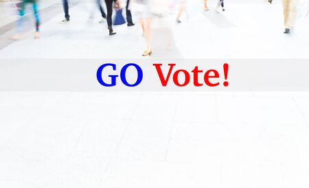 libertarian: motion blur people walking, election concept