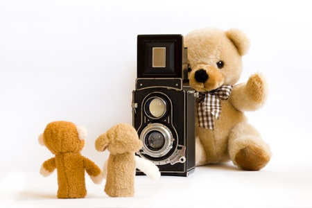 Teddy bear is taking photo of his friends