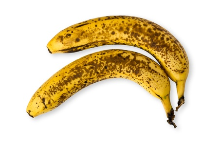 Detail of two old speckled bananas photo