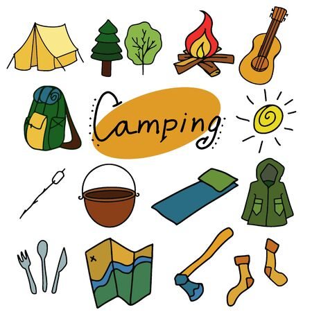 Camping and outdoor vector illustration - Flat design - Vintage colors - Isolated objects Illustration