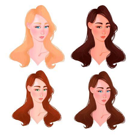 Infografía de índice de color de piel en vector. Cara de mujer hermosa con tabla de tonos de piel de color diferente. Piel de tipos de vector de información gráfica. Nivel de diferente color del tipo de piel. Ilustración de vector