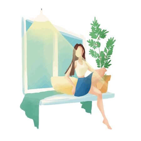 The girl sits by the window on the window sill. Nearby is a plant in a pot.