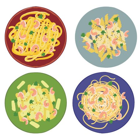 Garlic shrimp pasta with Spaghetti, penne, tagliatelle and fisilli on colored plates.