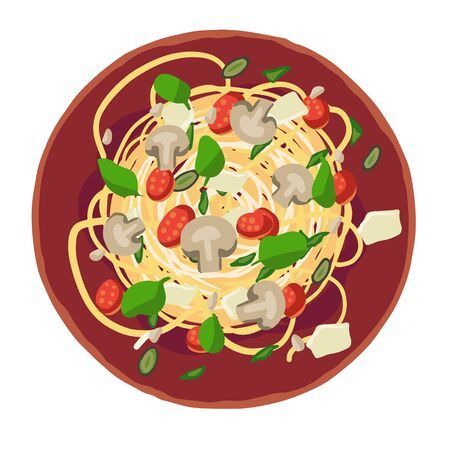 Pasta assorted with Spaghetti. Vector illustration for the menu.