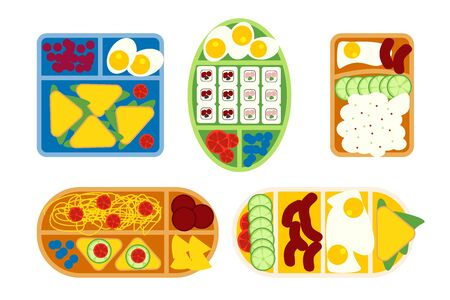 School lunch boxes set, isolated vector illustration. Snacks in plastic colorful containers with italian, asian, american, vegetarian food. Kids school meals icons in flat style.