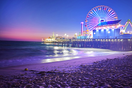 Santa Monica Beach at Night Stock Photo