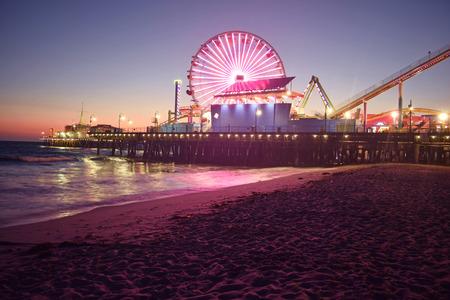 santa monica: Santa Monica Beach at Night Stock Photo