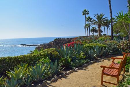 laguna: A bench overlooks the beautiful scenery of Laguna Beach, California. Stock Photo