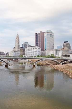 river county: Downtown Columbus Ohio Skyline During the Springtime