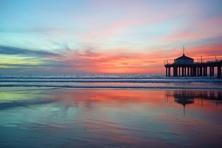 docks: A gorgeous sunset in Manhattan Beach, Southern California Stock Photo