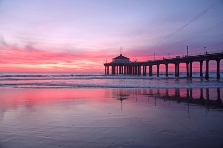 southern california: A gorgeous sunset in Manhattan Beach, Southern California Stock Photo