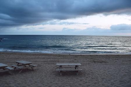 southern california: A Stormy Sprintime Sunset in Emerald Bay, Laguna Beach. Laguna Beach is a town in Southern California Stock Photo