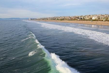 Waves crash ashore in Manhattan Beach (South of Los Angeles)