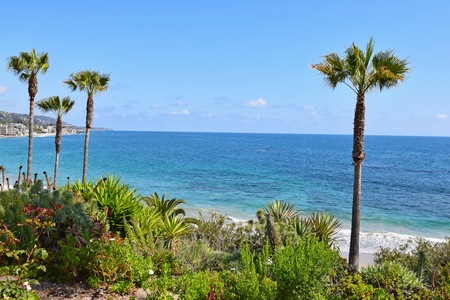 laguna: A view from beautiful Heisler Park in Laguna Beach. Laguna is a beach community in Southern California.