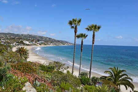 laguna: A view from beautiful Heisler Park in Laguna Beach. Laguna is a beach community in Southern California.