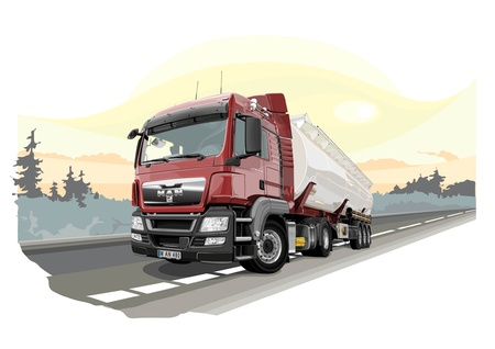 dangerously: Auto van for dangerous cargo with nature background Illustration
