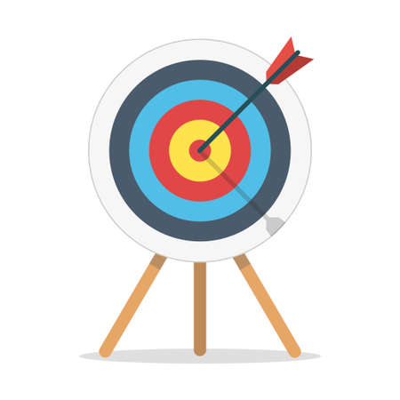 Target with arrow standing on a tripod. Template design for competition winning, goal achievement, victory and business. Concept target market, audience, group, consumer. Vector illustration