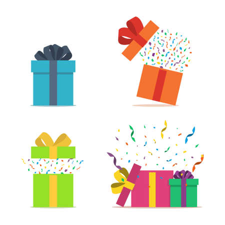 Set of gift boxes. Opened gift box with confetti. Present package with bursting elements, surprise inside. Template design for surprise, celebration event, presents, birthday, Christmas. Vector