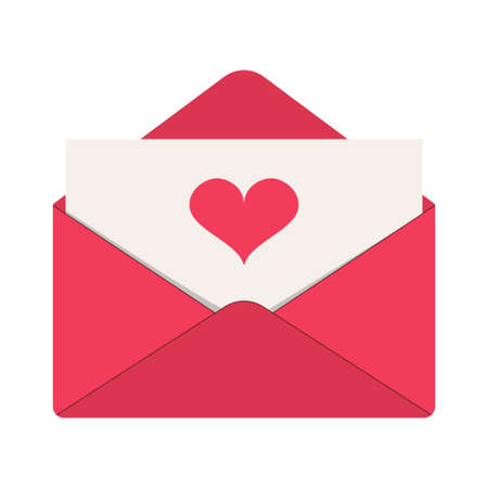 Love letter icon. Pink envelope with red heart on the card. Template design for valentine day, greeting, wedding, celebration. Vector illustration