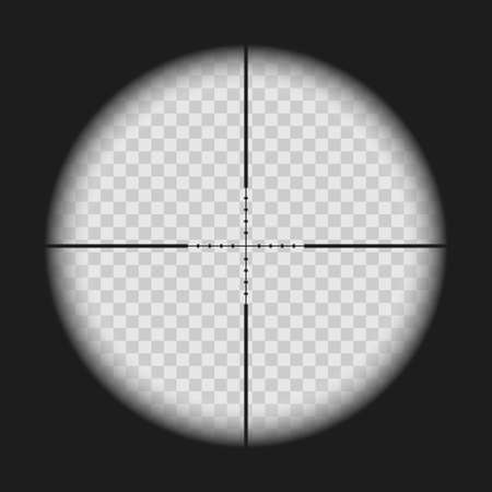 Realistic sniper sight with measurement marks isolated on transparent background. View through a rifle scope with crosshair. Gun viewfinder target. Template design for GUI element, gaming. Vector illustration