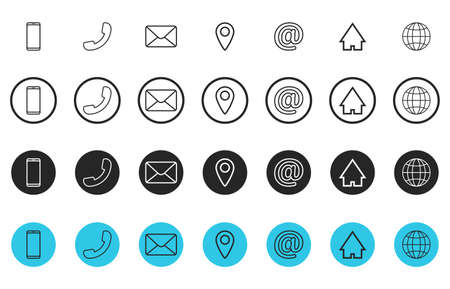Set of line contact icons. Button contacts of phone number or an email address information. Phone, handset, email, pin, at, home, globe symbols. Template design for web or mobile app. Vector