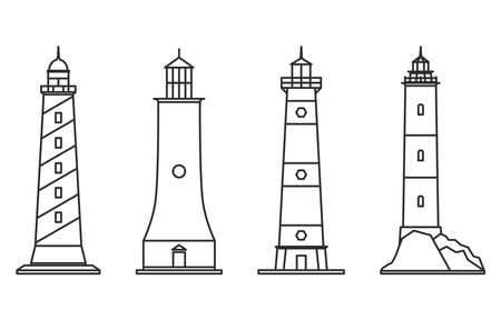 Set of outline lighthouse icons for isolated on white background. Searchlight towers for maritime navigation guidance. Sea beacon for security and navigation. Template for your design. Vector illustration