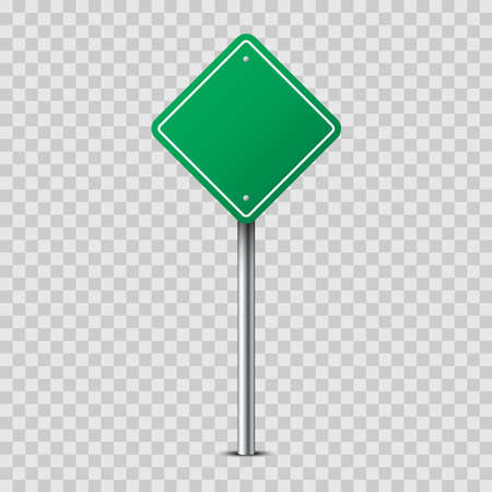 Realistic green rhombus traffic sign on metal pole isolated on transparent background. Blank traffic road empty sign. Mock up template for your design. Vector illustration