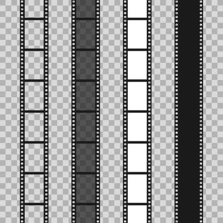Set of different filmstrip roll on transparent background. 35mm film slide frame. Cinema frames. Vector illustration