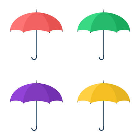 Set of colorful umbrellas. Red, green, violet, yellow umbrella. Protection from rain or sun. Template design for web design, mobile apps and printing. Vector illustration Ilustración de vector