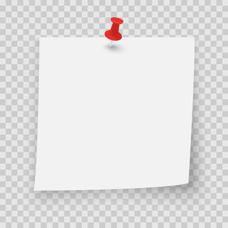 White sticky note with red pin and shadow on transparent background. Adhesive office reminder note paper icon. Mock up template for your design. Vector illustration Vecteurs
