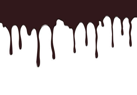Dripping chocolate syrup. Melted brown chocolate flow down. Template design for culinary wallpaper, brochure, coffee, candy shop, restaurant menu and confectionery. Vector illustration
