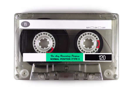 audio cassette: Digital photograph of an audio cassette recording tape. Stock Photo