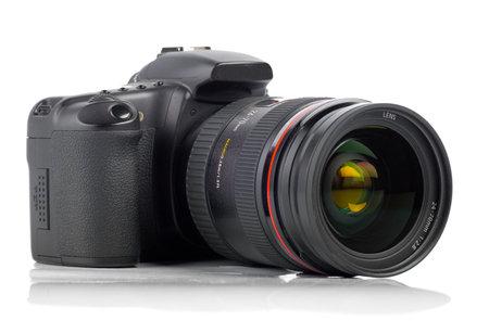 digicam: digital camera on white background (selective focus)