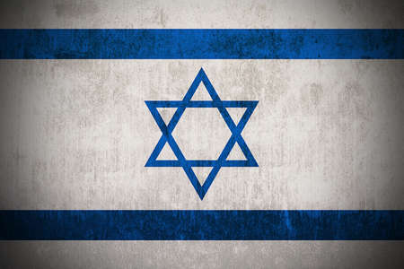 zionism: Weathered Flag Of Israel, fabric textured