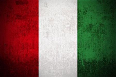 Weathered Flag Of Italy, fabric textured 版權商用圖片