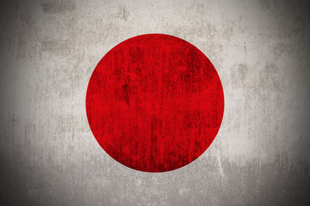 Weathered Flag Of Japan, fabric textured